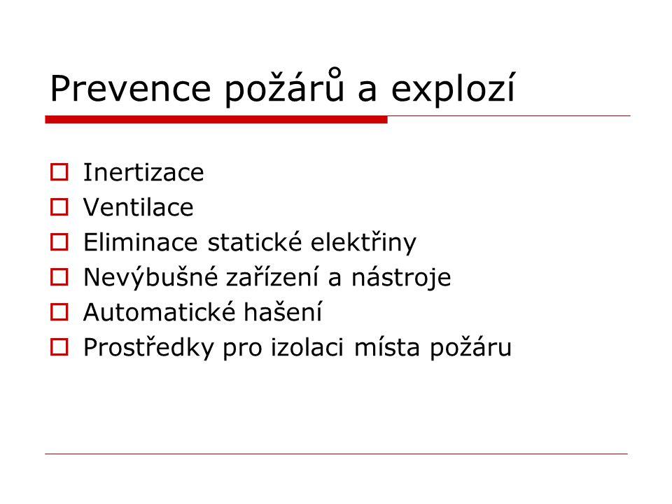 Prevence požárů a explozí  Inertizace  Ventilace  Eliminace statické elektřiny  Nevýbušné zařízení a nástroje  Automatické hašení  Prostředky pro izolaci místa požáru