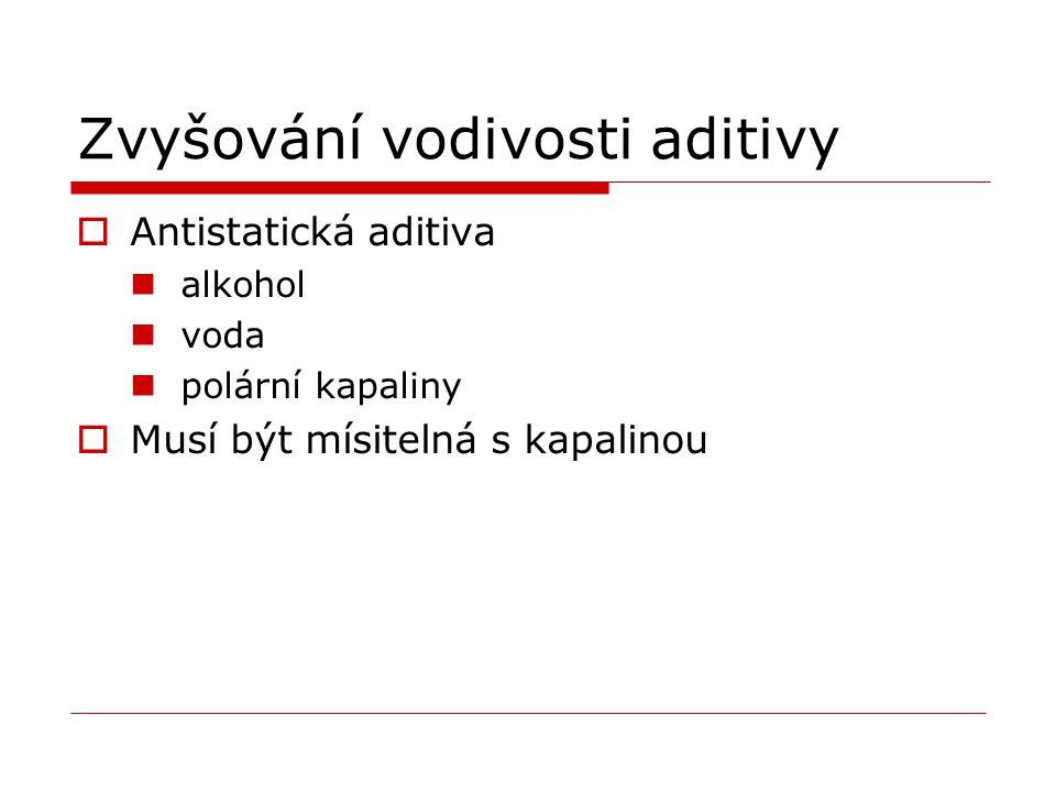 Zvyšování vodivosti aditivy  Antistatická aditiva alkohol voda polární kapaliny  Musí být mísitelná s kapalinou