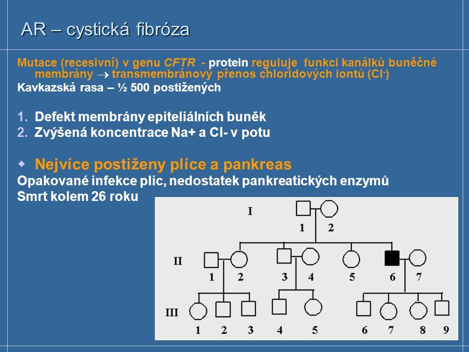 AR – fenylketonurie  Vrozená metabolická vada (1/10 000)  Mutace (recesivní) v genu kódujícím fenylalaninhydroxylasu  Zdraví rodiče (heterozygoti)  Všichni potomci nemocného jedince jsou přenašeči  Riziko opakování choroby – pro sourozence 25% fenylalanin tyrosin fenylalaninhydroxylasa Akumulace fenylalaninu v tělních tekutinách Poškození vývoje CNS v dětství 5.