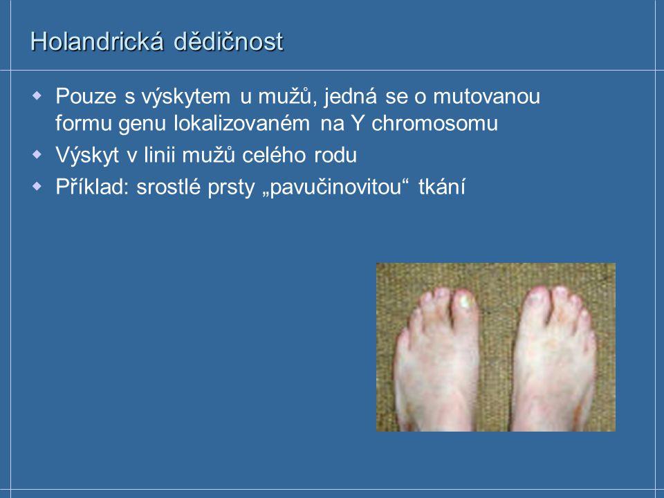 GONOSOMÁLNĚ RECESIVNÍ ONEMOCNĚNÍ Duchenova muskulární dystrofie – 1/ 3300 chlapců  geneticky letální Nové mutace – frekvence 10 -4 Svalová ochablost nastupuje mezi 3.