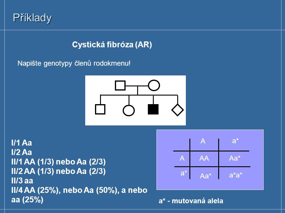 Příklady Napište genotypy členů rodokmenu! a a A* a A*a aa I/1 Aa I/2 aa II/1 aa II/2 Aa II/3 aa II/4 Aa (50%), aa (50%) A*- mutovaná alela Brachydakt