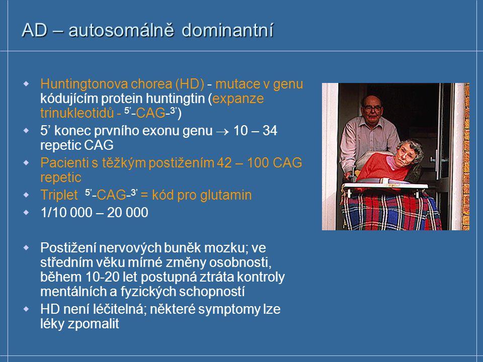 AD – autosomálně dominantní Hypercholesterolemie (1/500 heterozygotů) - mutace v genu kódujícím receptor pro LDL (low density lipoprotein)  v cytosol