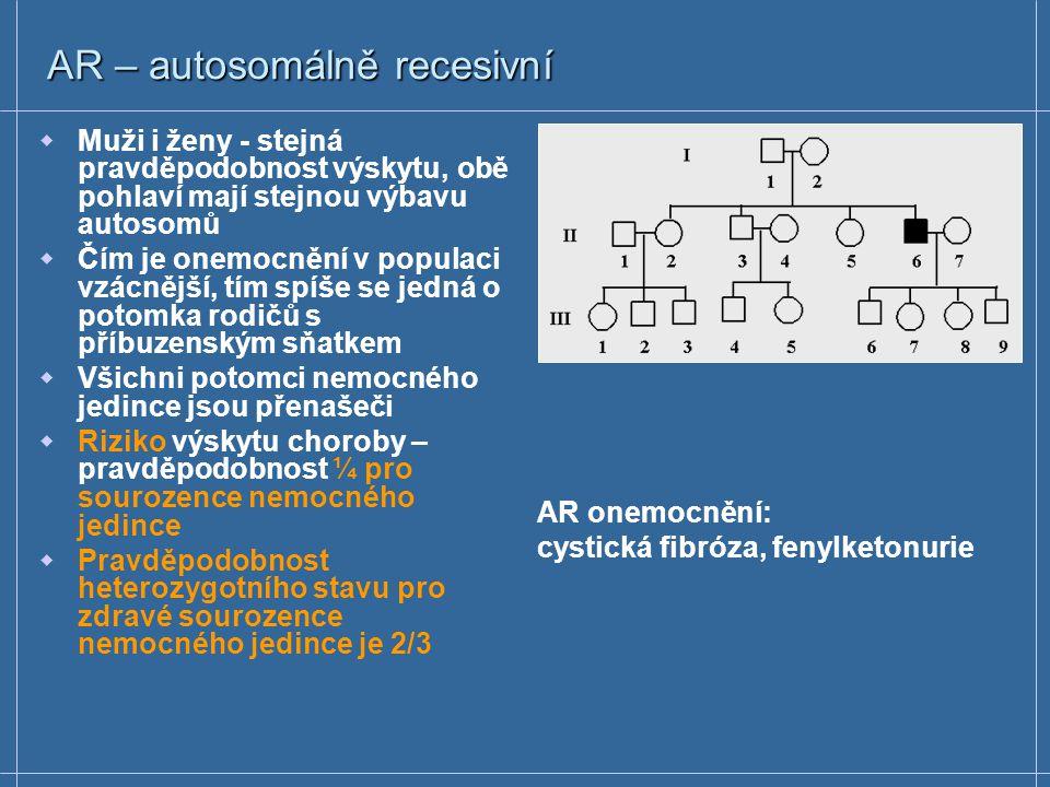 AD – autosomálně dominantní  Huntingtonova chorea (HD) - mutace v genu kódujícím protein huntingtin (expanze trinukleotidů - 5' -CAG- 3' )  5' konec prvního exonu genu  10 – 34 repetic CAG  Pacienti s těžkým postižením 42 – 100 CAG repetic  Triplet 5' -CAG- 3' = kód pro glutamin  1/10 000 – 20 000  Postižení nervových buněk mozku; ve středním věku mírné změny osobnosti, během 10-20 let postupná ztráta kontroly mentálních a fyzických schopností  HD není léčitelná; některé symptomy lze léky zpomalit