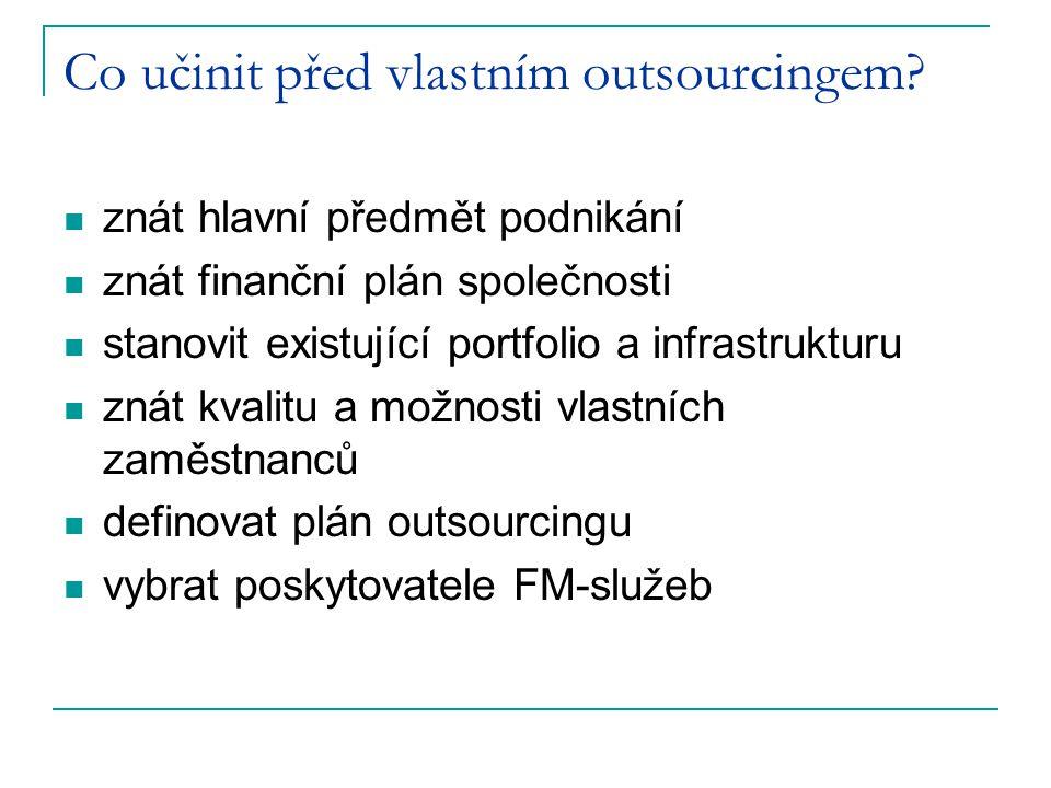 Co učinit před vlastním outsourcingem? znát hlavní předmět podnikání znát finanční plán společnosti stanovit existující portfolio a infrastrukturu zná