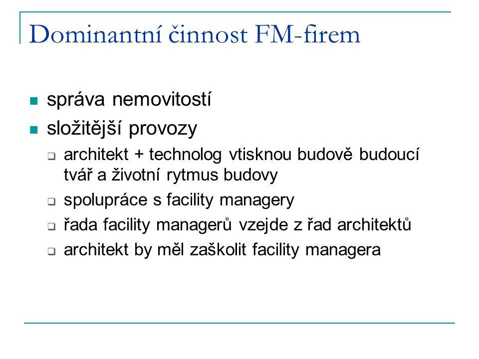 Dominantní činnost FM-firem správa nemovitostí složitější provozy  architekt + technolog vtisknou budově budoucí tvář a životní rytmus budovy  spolu