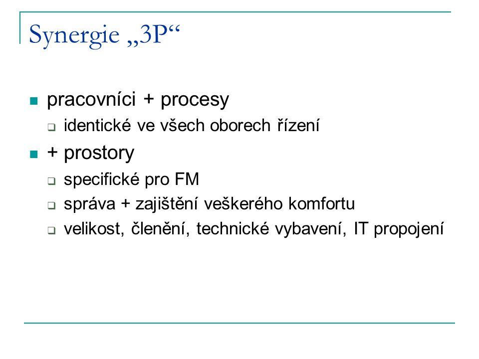 """Synergie """"3P"""" pracovníci + procesy  identické ve všech oborech řízení + prostory  specifické pro FM  správa + zajištění veškerého komfortu  veliko"""