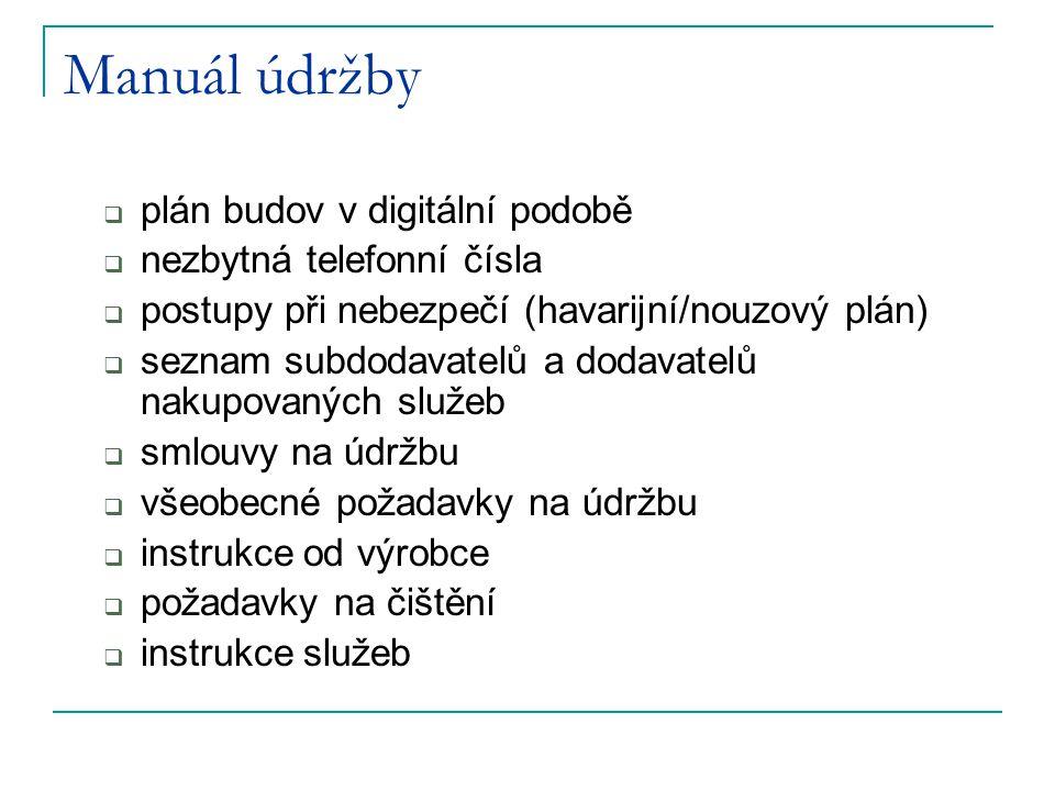 Manuál údržby  plán budov v digitální podobě  nezbytná telefonní čísla  postupy při nebezpečí (havarijní/nouzový plán)  seznam subdodavatelů a dod