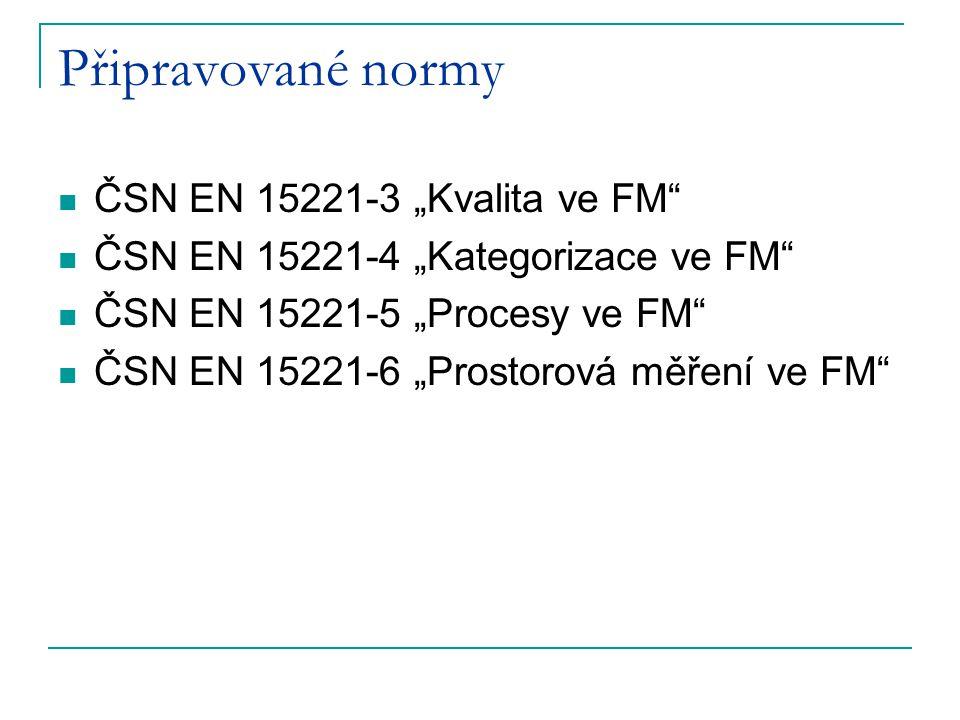 """Připravované normy ČSN EN 15221-3 """"Kvalita ve FM"""" ČSN EN 15221-4 """"Kategorizace ve FM"""" ČSN EN 15221-5 """"Procesy ve FM"""" ČSN EN 15221-6 """"Prostorová měření"""