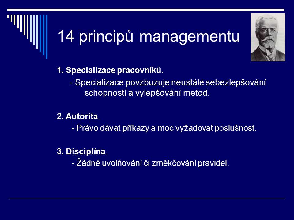 14 principů managementu 1. Specializace pracovníků. - Specializace povzbuzuje neustálé sebezlepšování schopností a vylepšování metod. 2. Autorita. - P