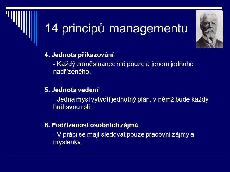 14 principů managementu 4. Jednota přikazování. - Každý zaměstnanec má pouze a jenom jednoho nadřízeného. 5. Jednota vedení. - Jedna mysl vytvoří jedn