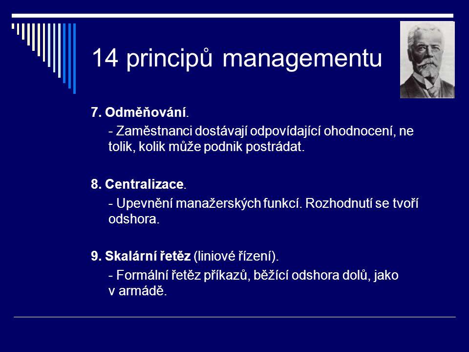 14 principů managementu 7. Odměňování. - Zaměstnanci dostávají odpovídající ohodnocení, ne tolik, kolik může podnik postrádat. 8. Centralizace. - Upev