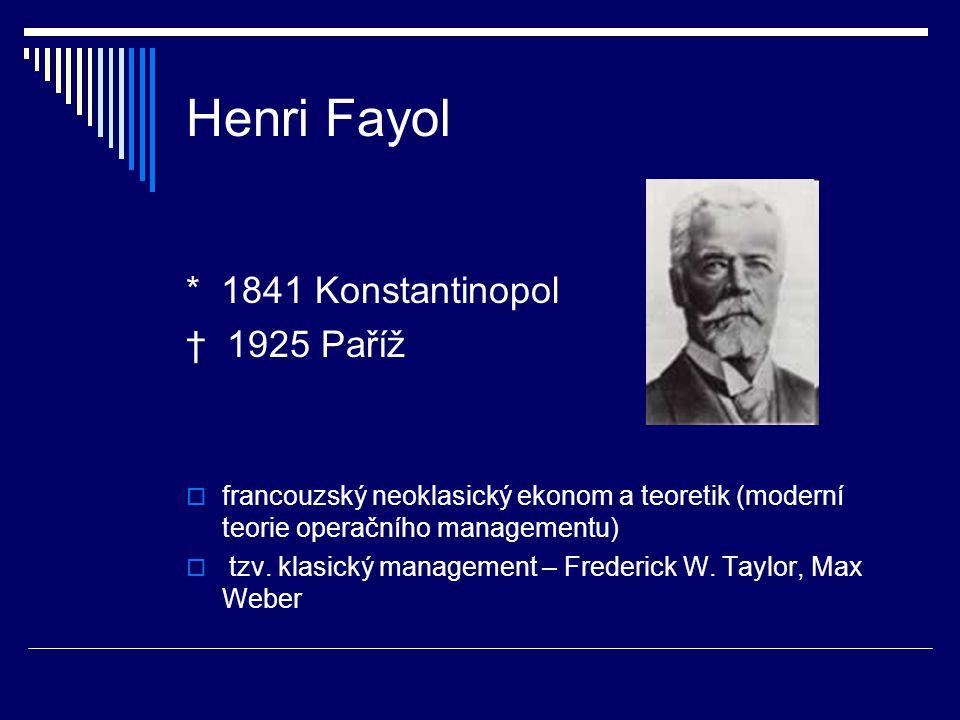 Henri Fayol * 1841 Konstantinopol † 1925 Paříž  francouzský neoklasický ekonom a teoretik (moderní teorie operačního managementu)  tzv. klasický man