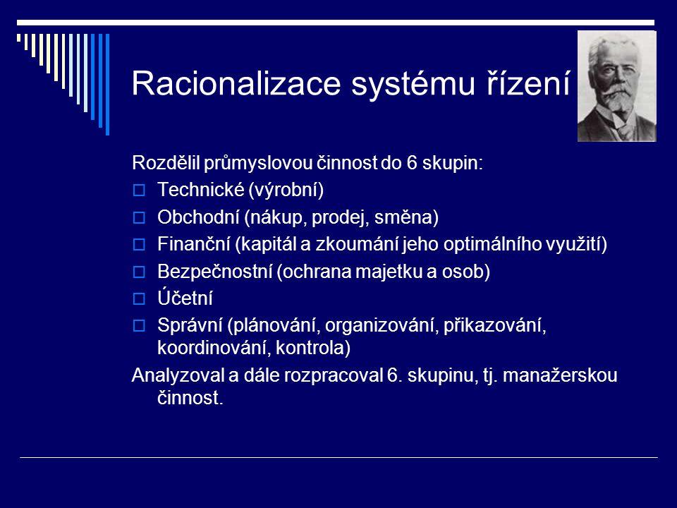Racionalizace systému řízení Rozdělil průmyslovou činnost do 6 skupin:  Technické (výrobní)  Obchodní (nákup, prodej, směna)  Finanční (kapitál a z