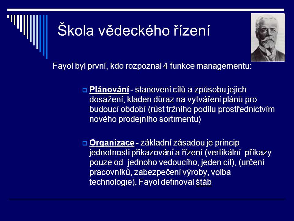 Škola vědeckého řízení  Vedení - princip delegace pravomocí a povinností po vertikální linii (určení odpovědností pracovníků, systém bonusů)  Kontrola - kladen důraz na osobnost vedoucích, kteří v rámci kontroly činnosti podřízených mají rozvíjet své dovednosti ve více oborech (vyhodnocování dosažených výsledků, kontrola dílčích cílů) (původní verze se poněkud lišila: plánovat, organizovat, přikazovat, koordinovat a kontrolovat)