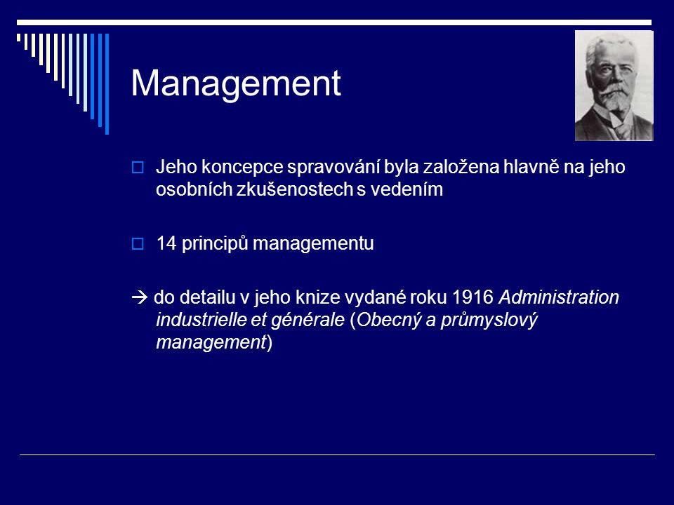 Management  Jeho koncepce spravování byla založena hlavně na jeho osobních zkušenostech s vedením  14 principů managementu  do detailu v jeho knize