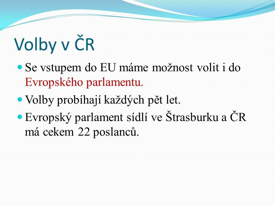 Volby v ČR Se vstupem do EU máme možnost volit i do Evropského parlamentu.