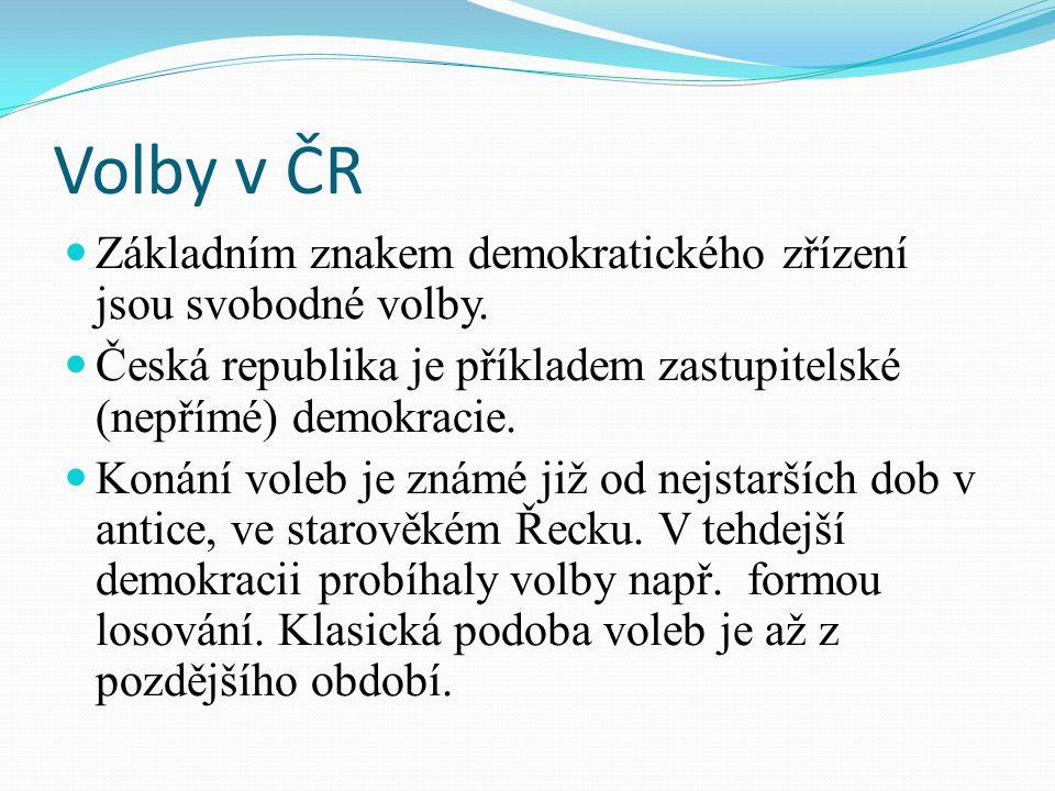 Volby v ČR Základním znakem demokratického zřízení jsou svobodné volby.