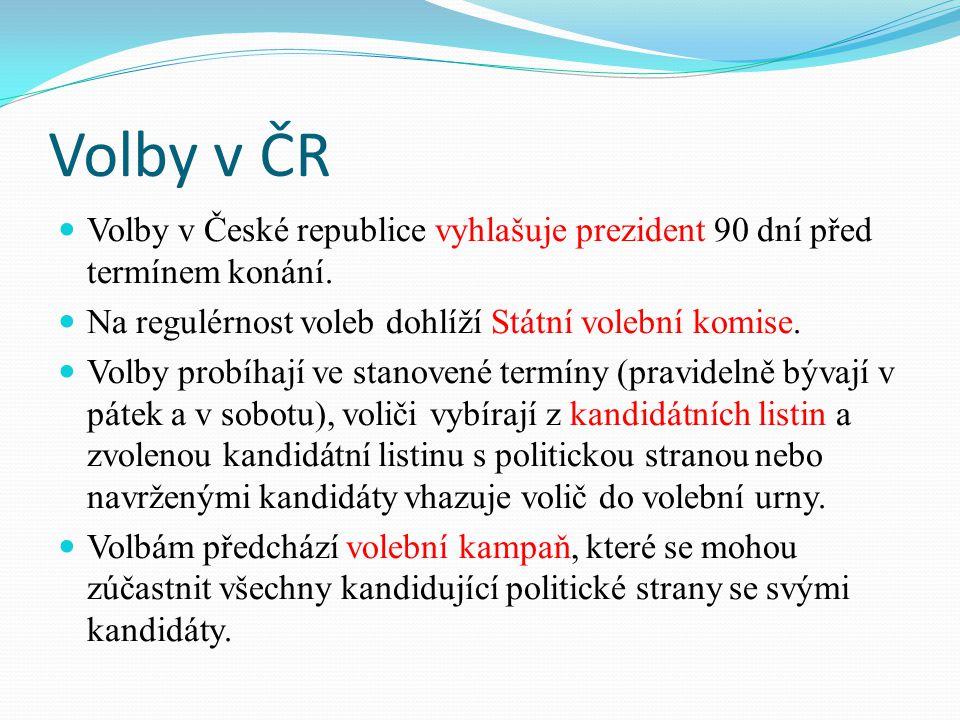 Volby v ČR Volby v České republice vyhlašuje prezident 90 dní před termínem konání.