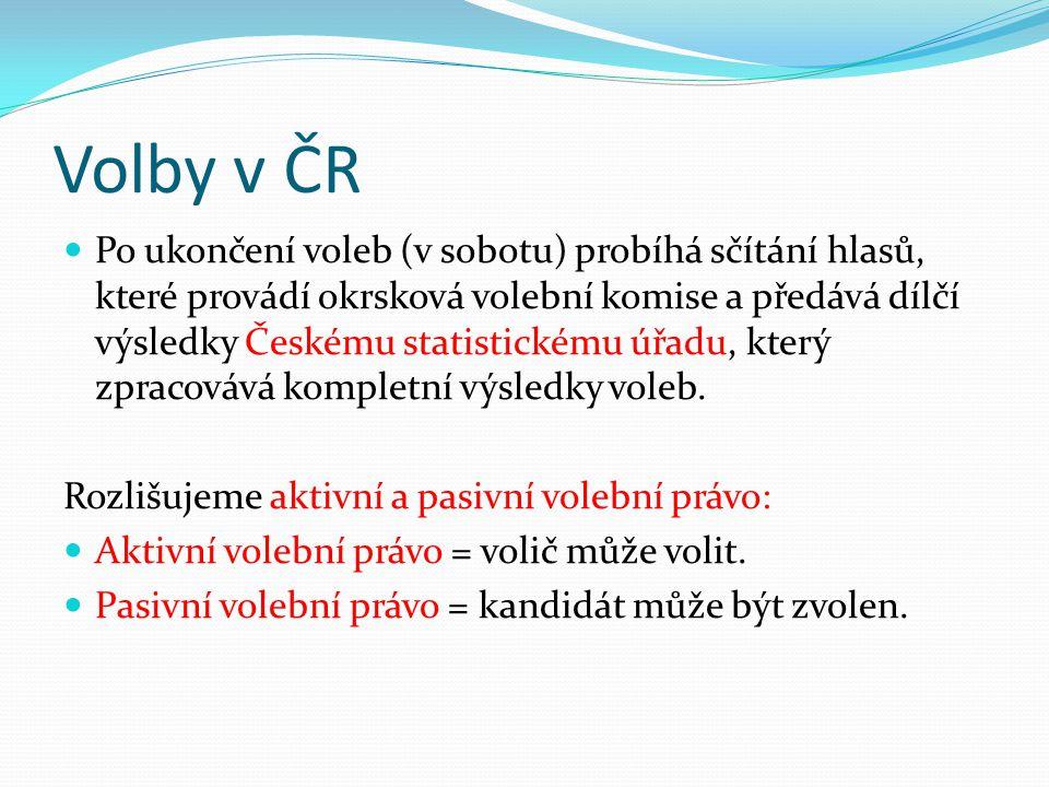 Volby v ČR V rámci samotné volby rozlišujeme: přímou a nepřímou volbu Přímá volba = volíme přímo své zástupce (např.