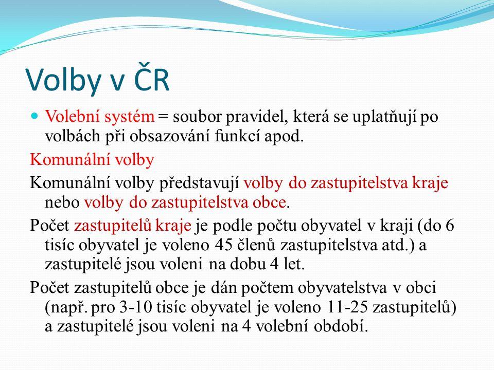 Volby v ČR Volební systém = soubor pravidel, která se uplatňují po volbách při obsazování funkcí apod.