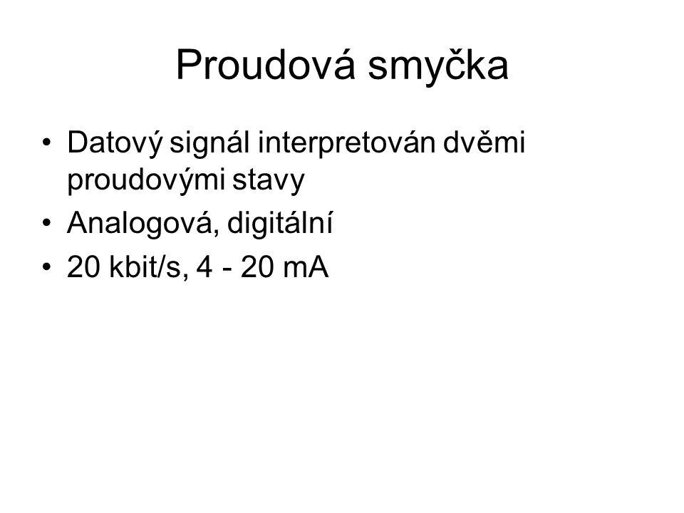 Proudová smyčka Datový signál interpretován dvěmi proudovými stavy Analogová, digitální 20 kbit/s, 4 - 20 mA