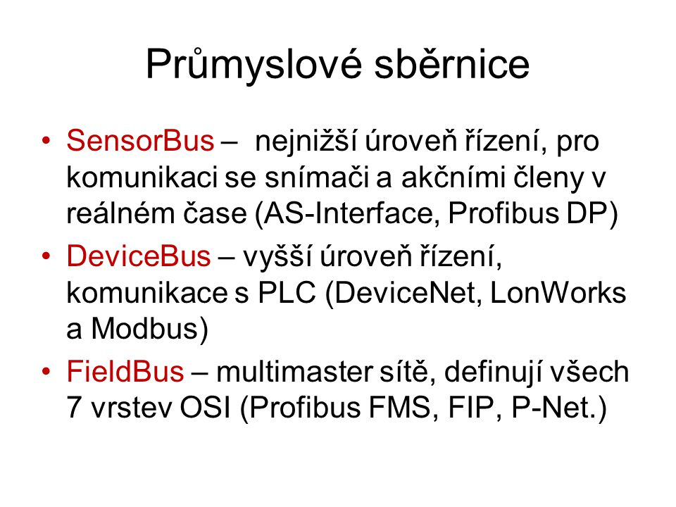 Průmyslové sběrnice SensorBus – nejnižší úroveň řízení, pro komunikaci se snímači a akčními členy v reálném čase (AS-Interface, Profibus DP) DeviceBus