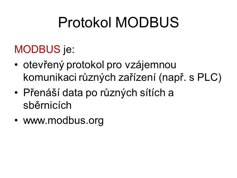Protokol MODBUS MODBUS je: otevřený protokol pro vzájemnou komunikaci různých zařízení (např. s PLC) Přenáší data po různých sítích a sběrnicích www.m