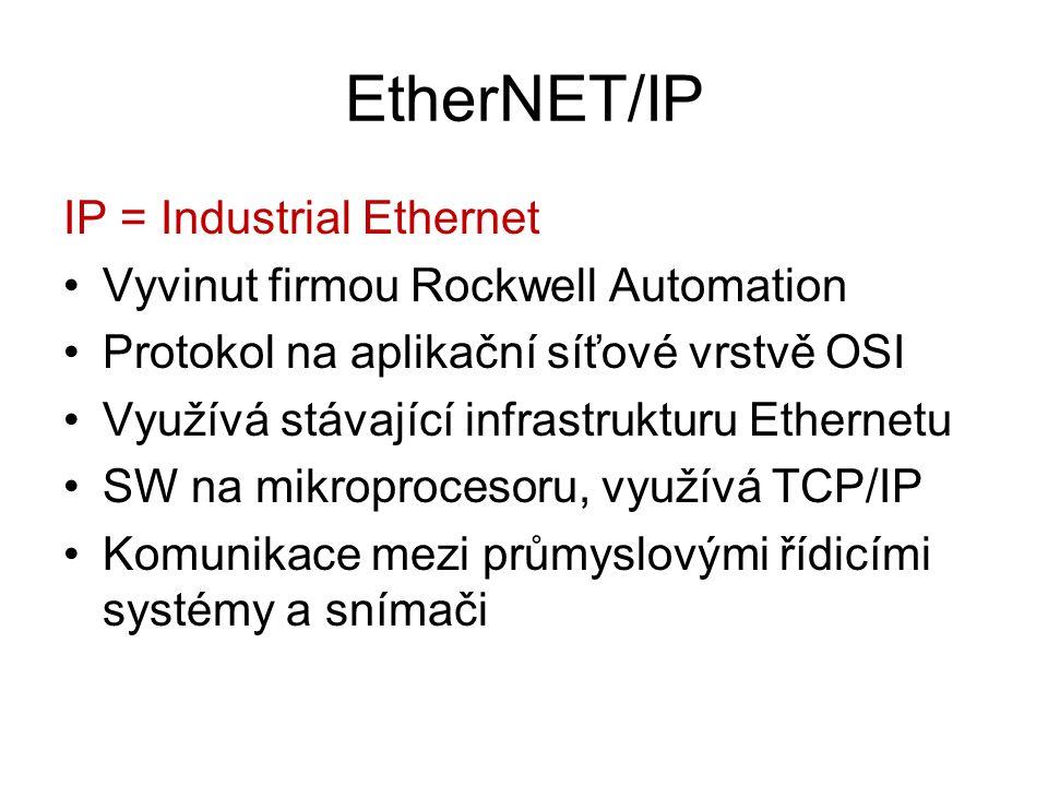 EtherNET/IP IP = Industrial Ethernet Vyvinut firmou Rockwell Automation Protokol na aplikační síťové vrstvě OSI Využívá stávající infrastrukturu Ether