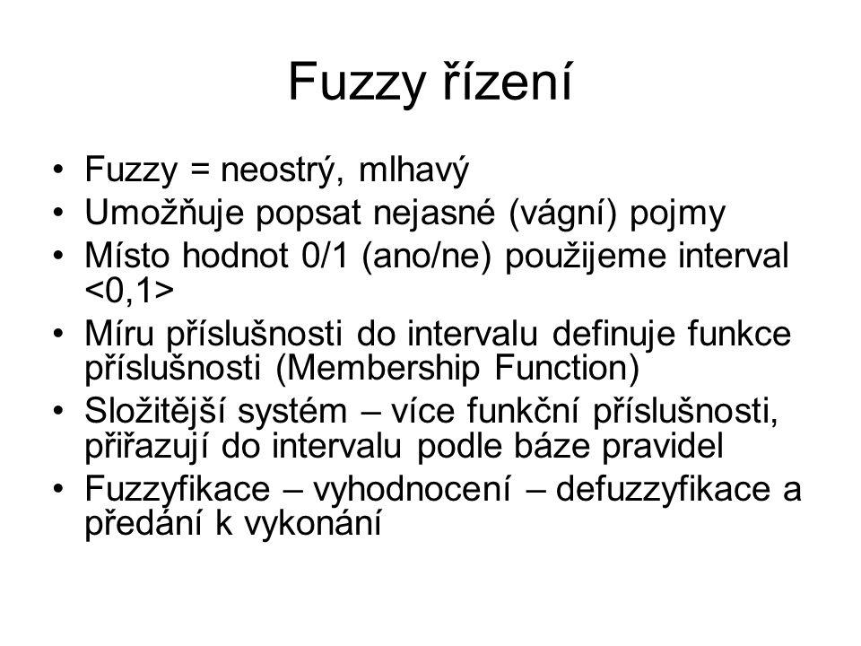 Fuzzy řízení Fuzzy = neostrý, mlhavý Umožňuje popsat nejasné (vágní) pojmy Místo hodnot 0/1 (ano/ne) použijeme interval Míru příslušnosti do intervalu