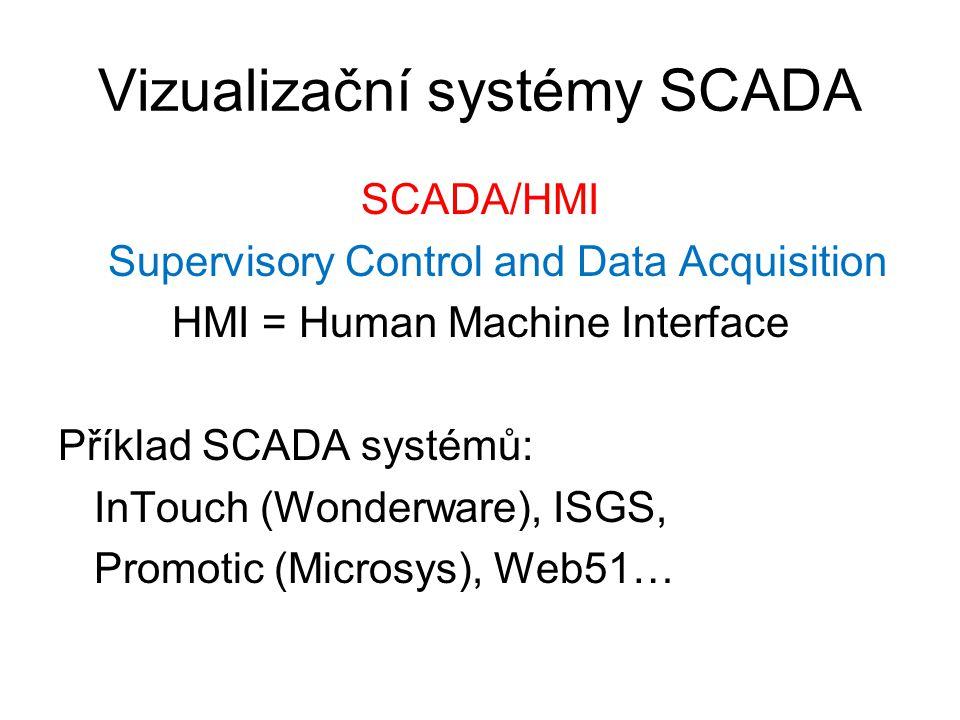 Vizualizační systémy SCADA SCADA/HMI Supervisory Control and Data Acquisition HMI = Human Machine Interface Příklad SCADA systémů: InTouch (Wonderware