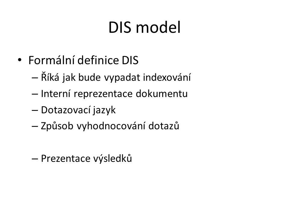 DIS model Formální definice DIS – Říká jak bude vypadat indexování – Interní reprezentace dokumentu – Dotazovací jazyk – Způsob vyhodnocování dotazů –