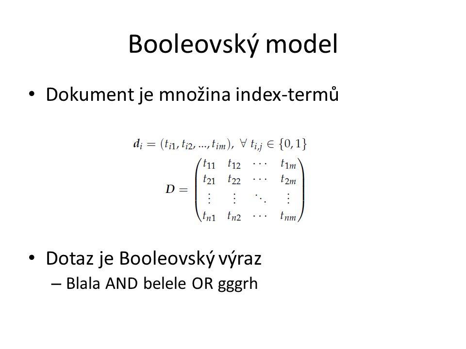 Dokument je množina index-termů Dotaz je Booleovský výraz – Blala AND belele OR gggrh Booleovský model