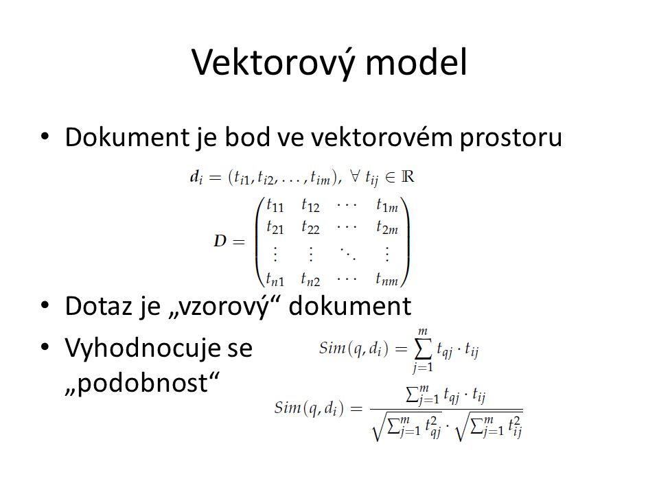 "Dokument je bod ve vektorovém prostoru Dotaz je ""vzorový"" dokument Vyhodnocuje se ""podobnost"" Vektorový model"