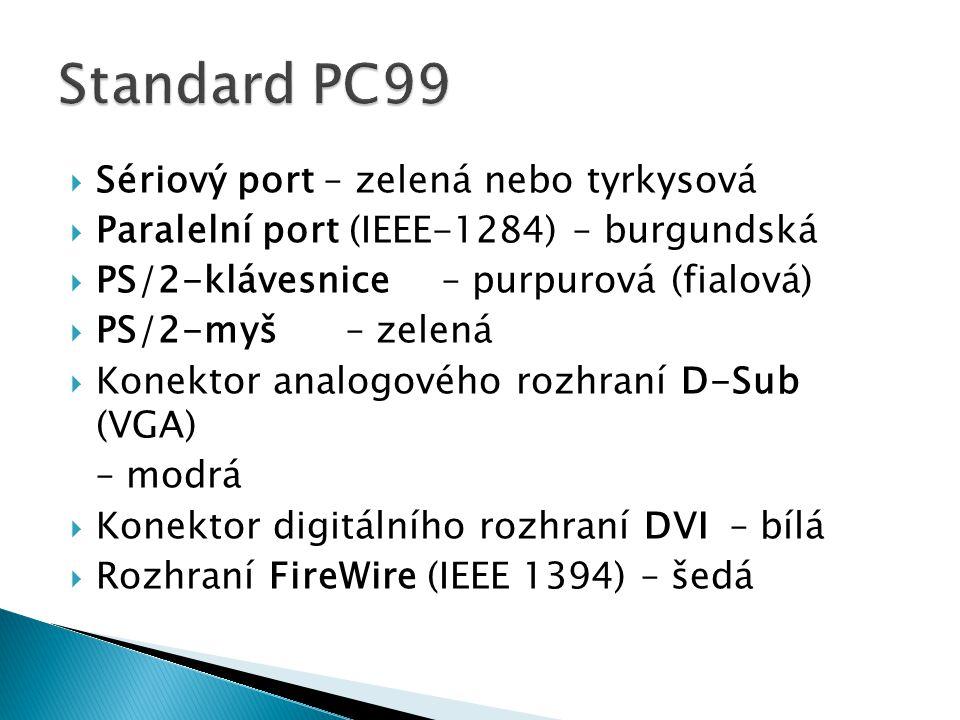  Sériový port – zelená nebo tyrkysová  Paralelní port (IEEE-1284) – burgundská  PS/2-klávesnice– purpurová (fialová)  PS/2-myš– zelená  Konektor analogového rozhraní D-Sub (VGA) – modrá  Konektor digitálního rozhraní DVI– bílá  Rozhraní FireWire (IEEE 1394) – šedá