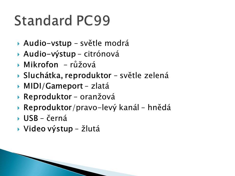  Audio-vstup – světle modrá  Audio-výstup – citrónová  Mikrofon – růžová  Sluchátka, reproduktor – světle zelená  MIDI/Gameport– zlatá  Reproduktor – oranžová  Reproduktor/pravo-levý kanál – hnědá  USB – černá  Video výstup – žlutá