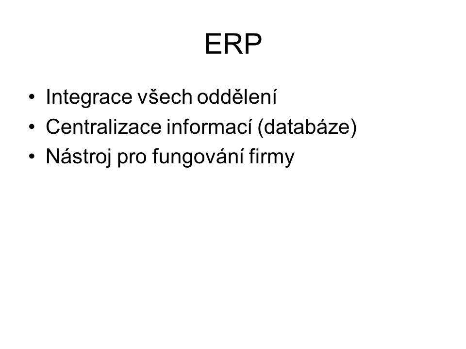 ERP Integrace všech oddělení Centralizace informací (databáze) Nástroj pro fungování firmy