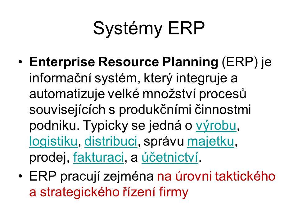 Systémy ERP Enterprise Resource Planning (ERP) je informační systém, který integruje a automatizuje velké množství procesů souvisejících s produkčními