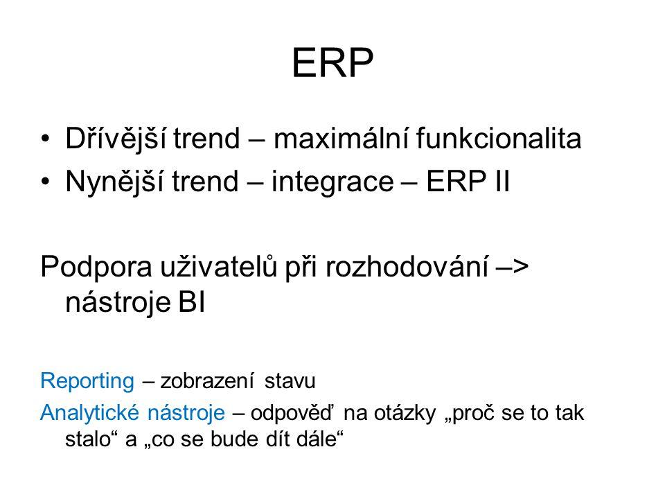 ERP Dřívější trend – maximální funkcionalita Nynější trend – integrace – ERP II Podpora uživatelů při rozhodování –> nástroje BI Reporting – zobrazení