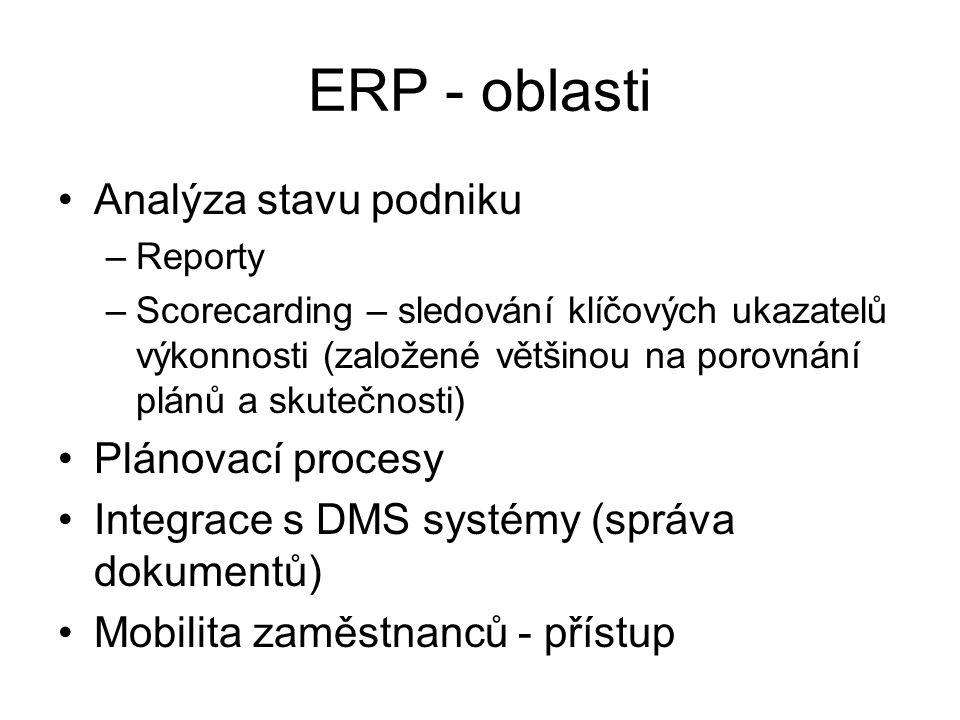 ERP - oblasti Analýza stavu podniku –Reporty –Scorecarding – sledování klíčových ukazatelů výkonnosti (založené většinou na porovnání plánů a skutečno