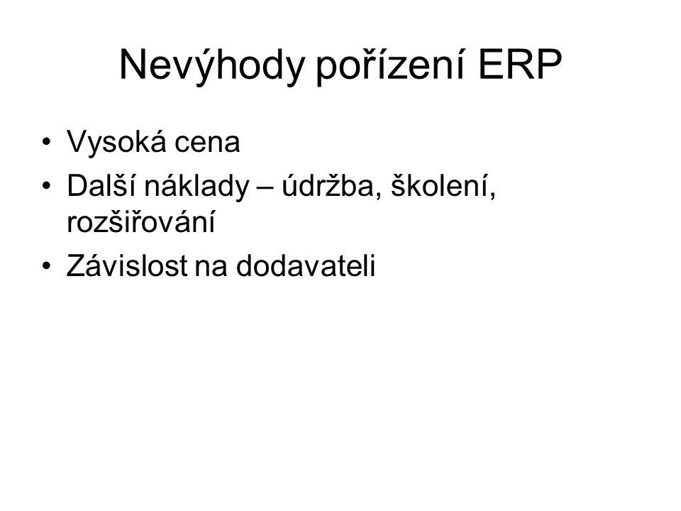 Nevýhody pořízení ERP Vysoká cena Další náklady – údržba, školení, rozšiřování Závislost na dodavateli