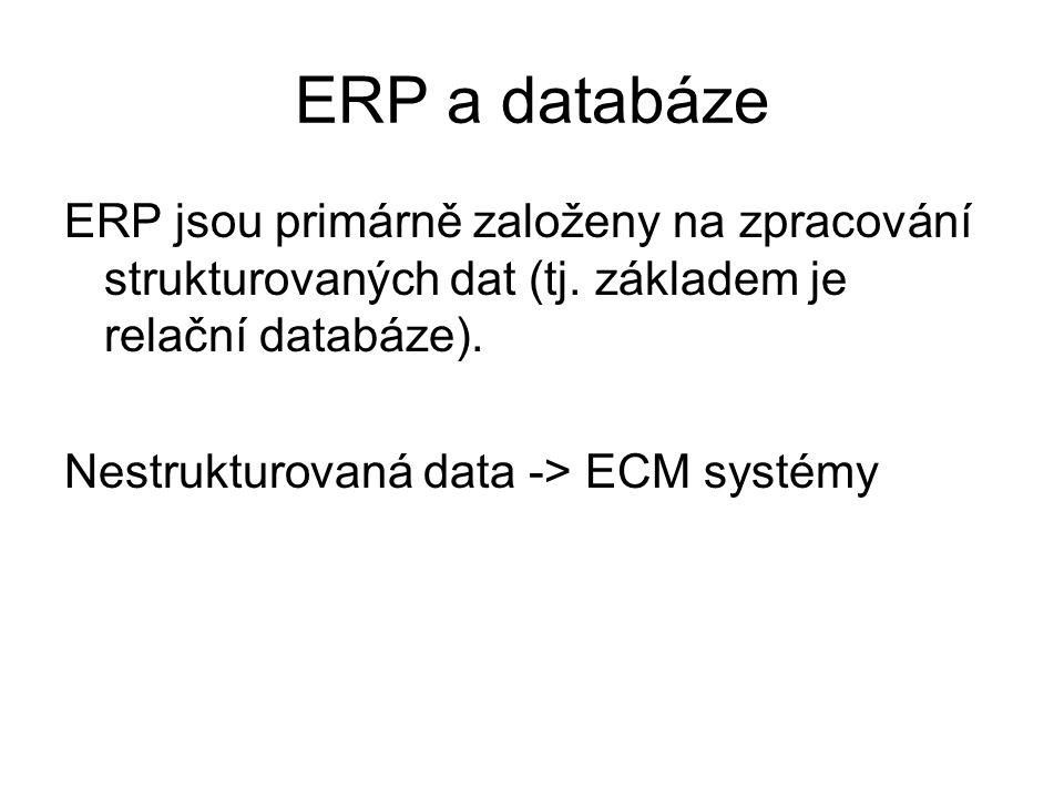 ERP a databáze ERP jsou primárně založeny na zpracování strukturovaných dat (tj. základem je relační databáze). Nestrukturovaná data -> ECM systémy