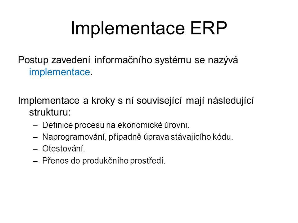 Implementace ERP Postup zavedení informačního systému se nazývá implementace. Implementace a kroky s ní související mají následující strukturu: –Defin