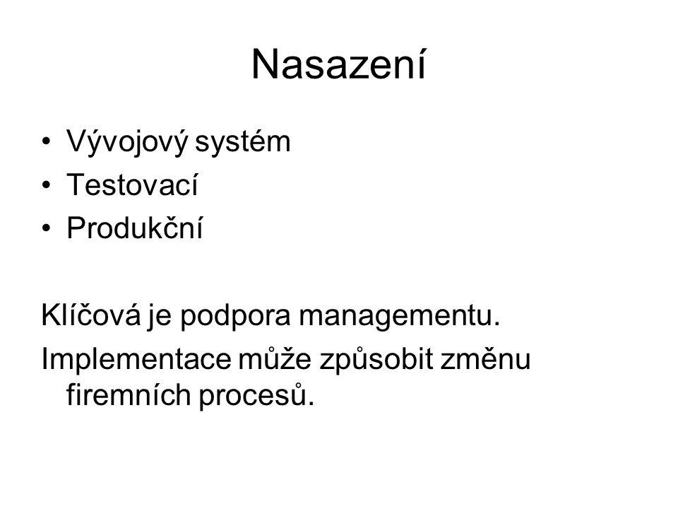 Nasazení Vývojový systém Testovací Produkční Klíčová je podpora managementu. Implementace může způsobit změnu firemních procesů.