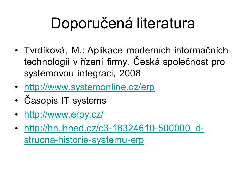 Doporučená literatura Tvrdíková, M.: Aplikace moderních informačních technologií v řízení firmy. Česká společnost pro systémovou integraci, 2008 http: