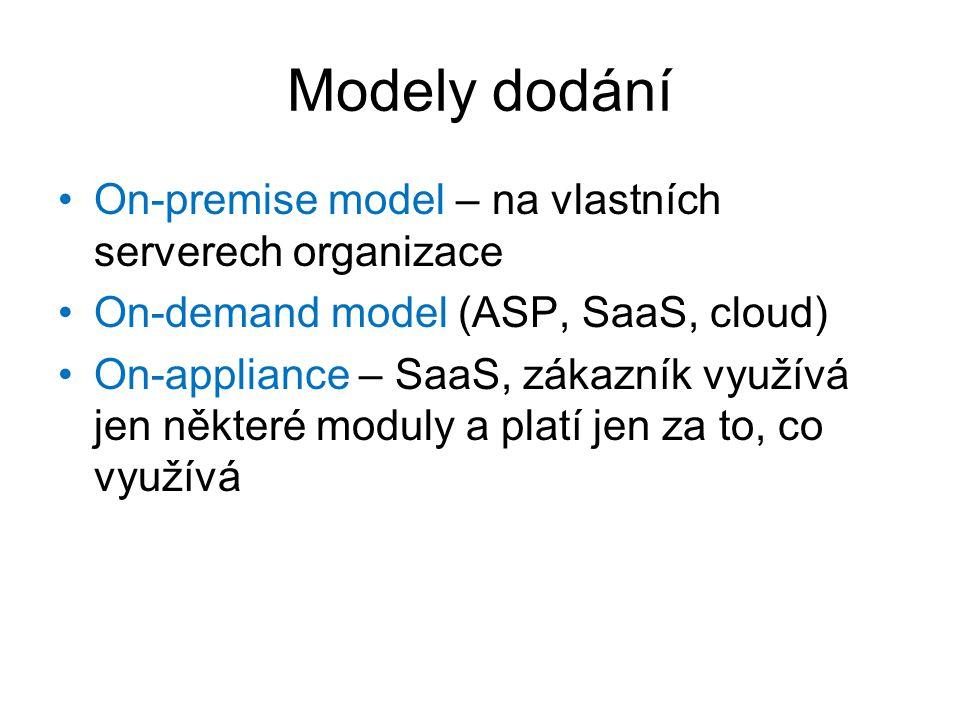Modely dodání On-premise model – na vlastních serverech organizace On-demand model (ASP, SaaS, cloud) On-appliance – SaaS, zákazník využívá jen někter