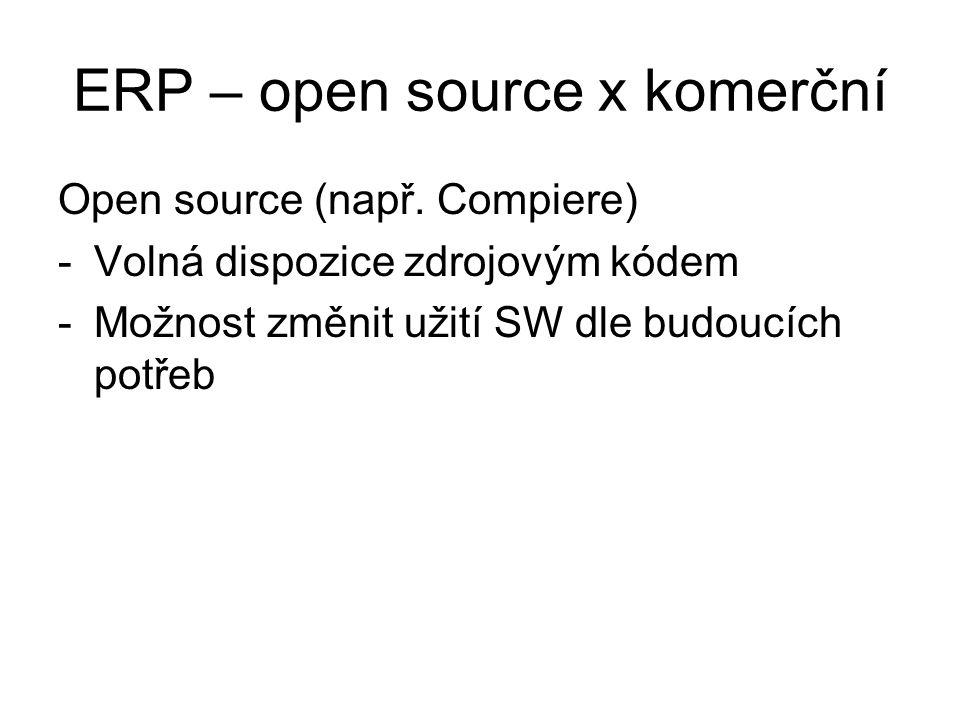 ERP – open source x komerční Open source (např. Compiere) -Volná dispozice zdrojovým kódem -Možnost změnit užití SW dle budoucích potřeb