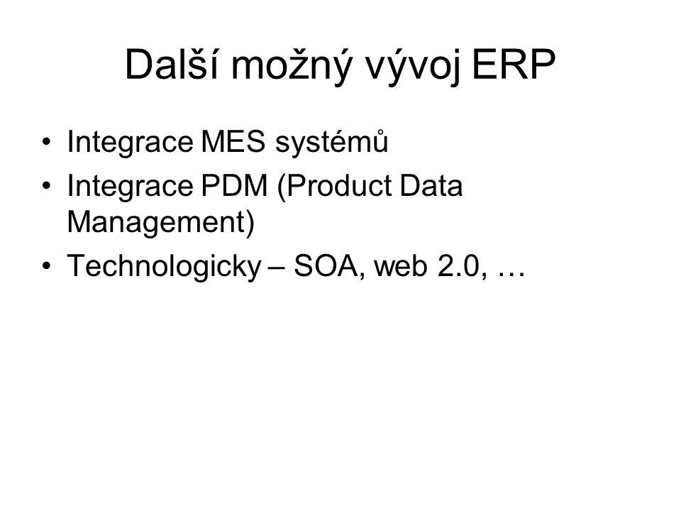 Další možný vývoj ERP Integrace MES systémů Integrace PDM (Product Data Management) Technologicky – SOA, web 2.0, …