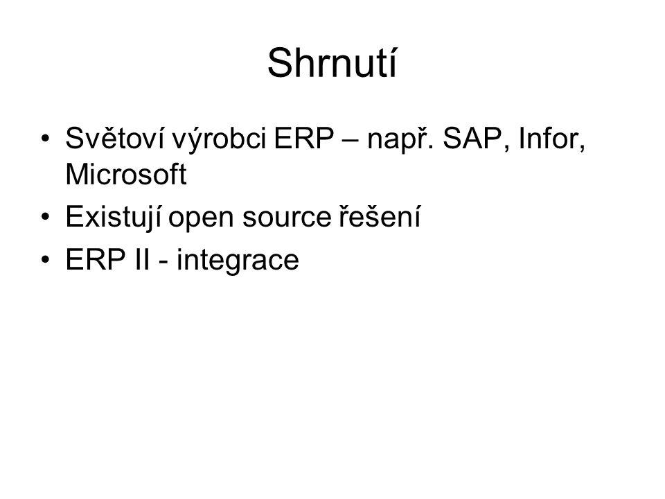 Shrnutí Světoví výrobci ERP – např. SAP, Infor, Microsoft Existují open source řešení ERP II - integrace