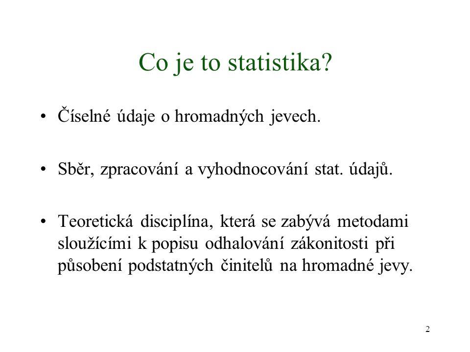 Co je to statistika? Číselné údaje o hromadných jevech. Sběr, zpracování a vyhodnocování stat. údajů. Teoretická disciplína, která se zabývá metodami