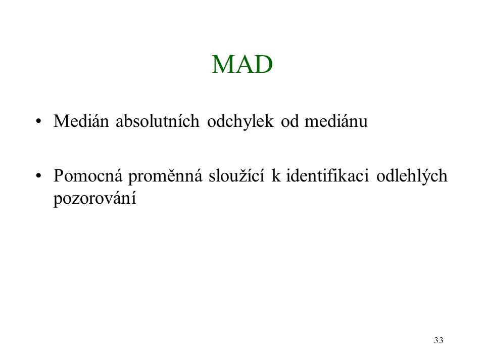 33 MAD Medián absolutních odchylek od mediánu Pomocná proměnná sloužící k identifikaci odlehlých pozorování
